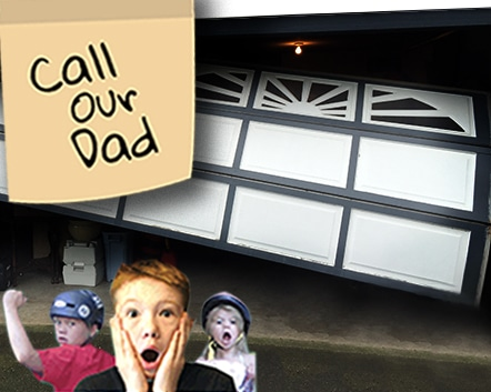 Kids requesting people call their dad for their garage door repair needs