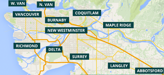 A map of the locations serviced with garage door repair in the Fraser Valley and Lower Mainland
