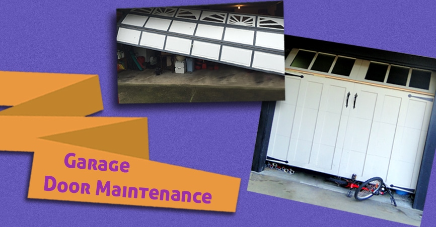 Collage of issues which cause regular maintenance of garage doors