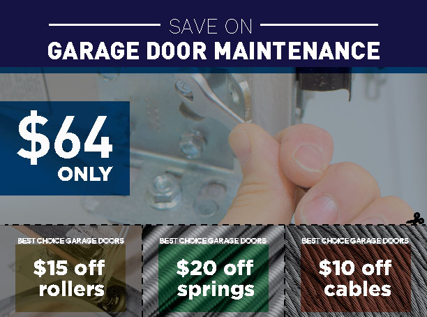 Discount offerings on garage door maintenance for rollers, springs, and cables