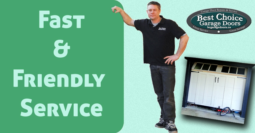 Fast and friendly garage door service banner with owner posing